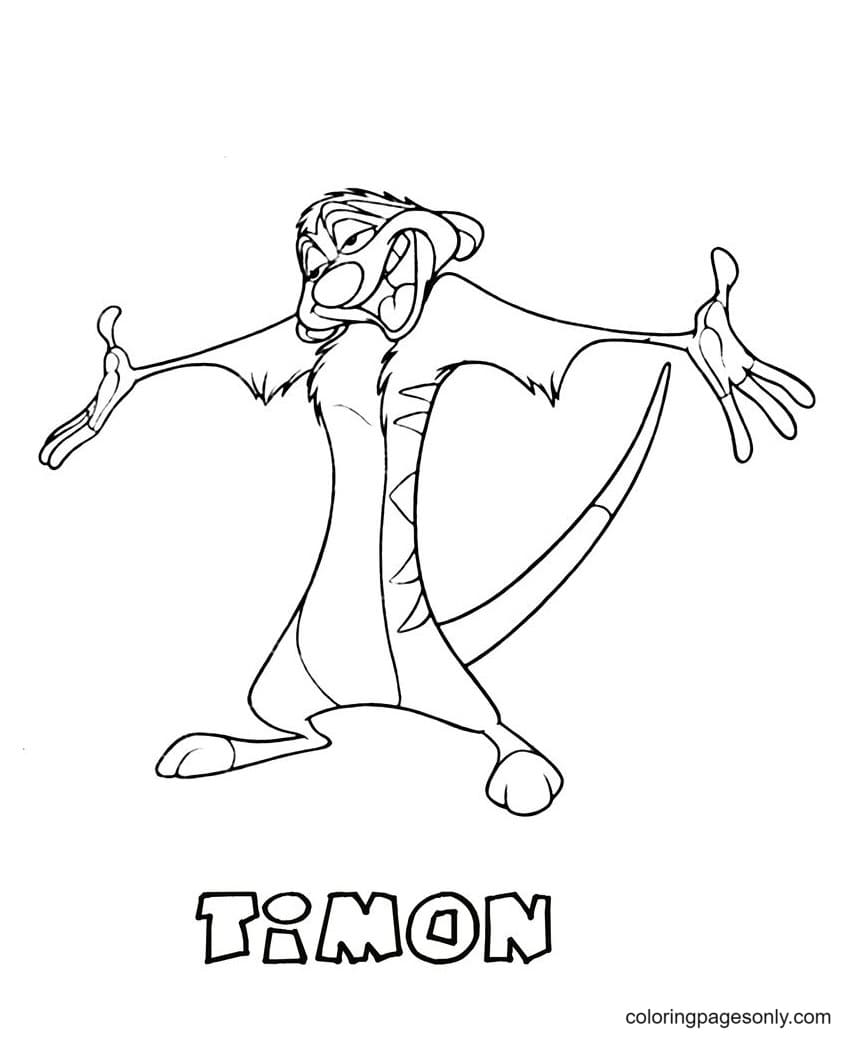 Timon From The Lion King Coloring Page