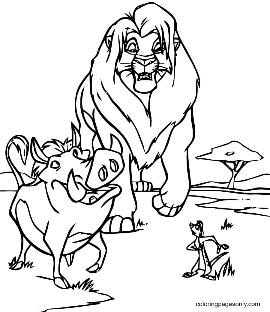 Timon and Pumbaa with Mufasa Coloring Page