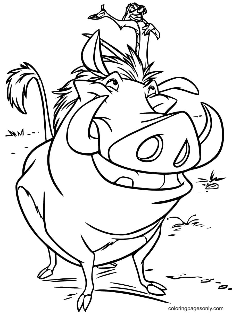 Timon on Pumbaa Coloring Page