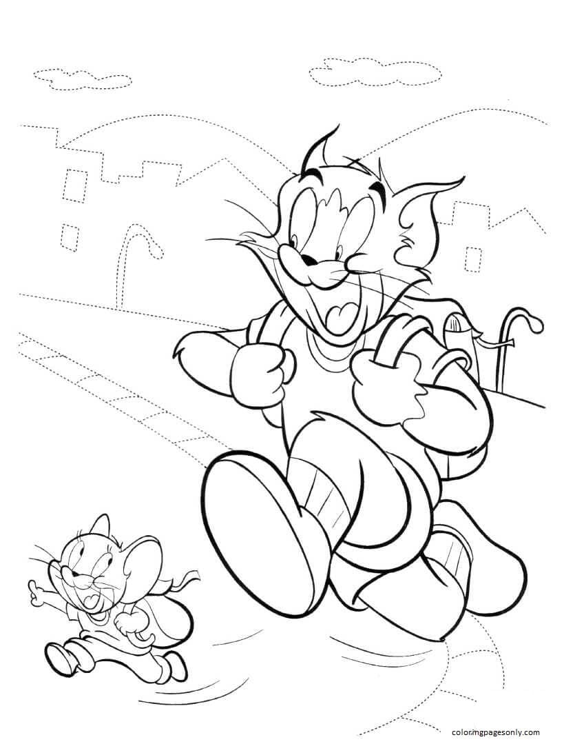 Tom And Jerry Go Camping Coloring Page