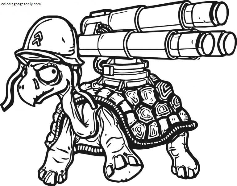 Tortoise Nerf Gun Coloring Page