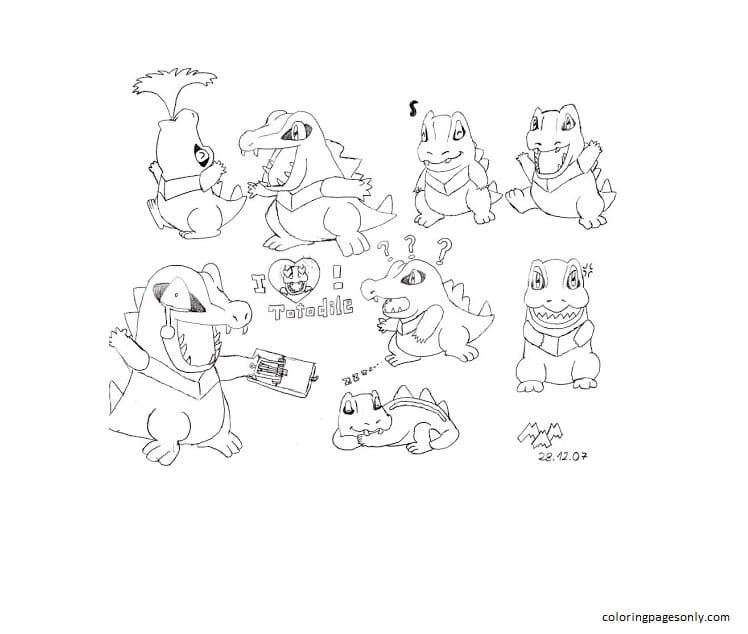 Totodile 12 Coloring Page