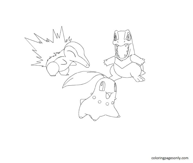 Totodile And Chikorita, Cyndaquil 2 Coloring Page