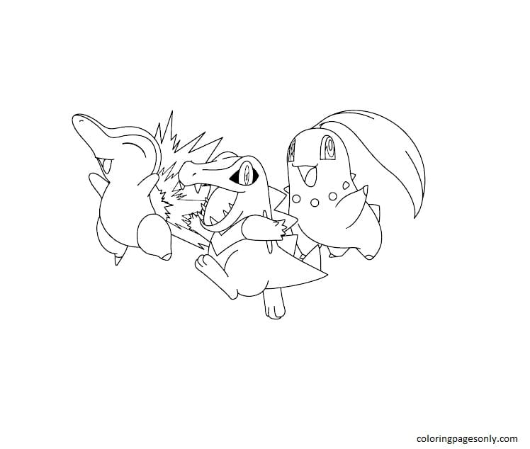 Totodile And Chikorita, Cyndaquil 3 Coloring Page