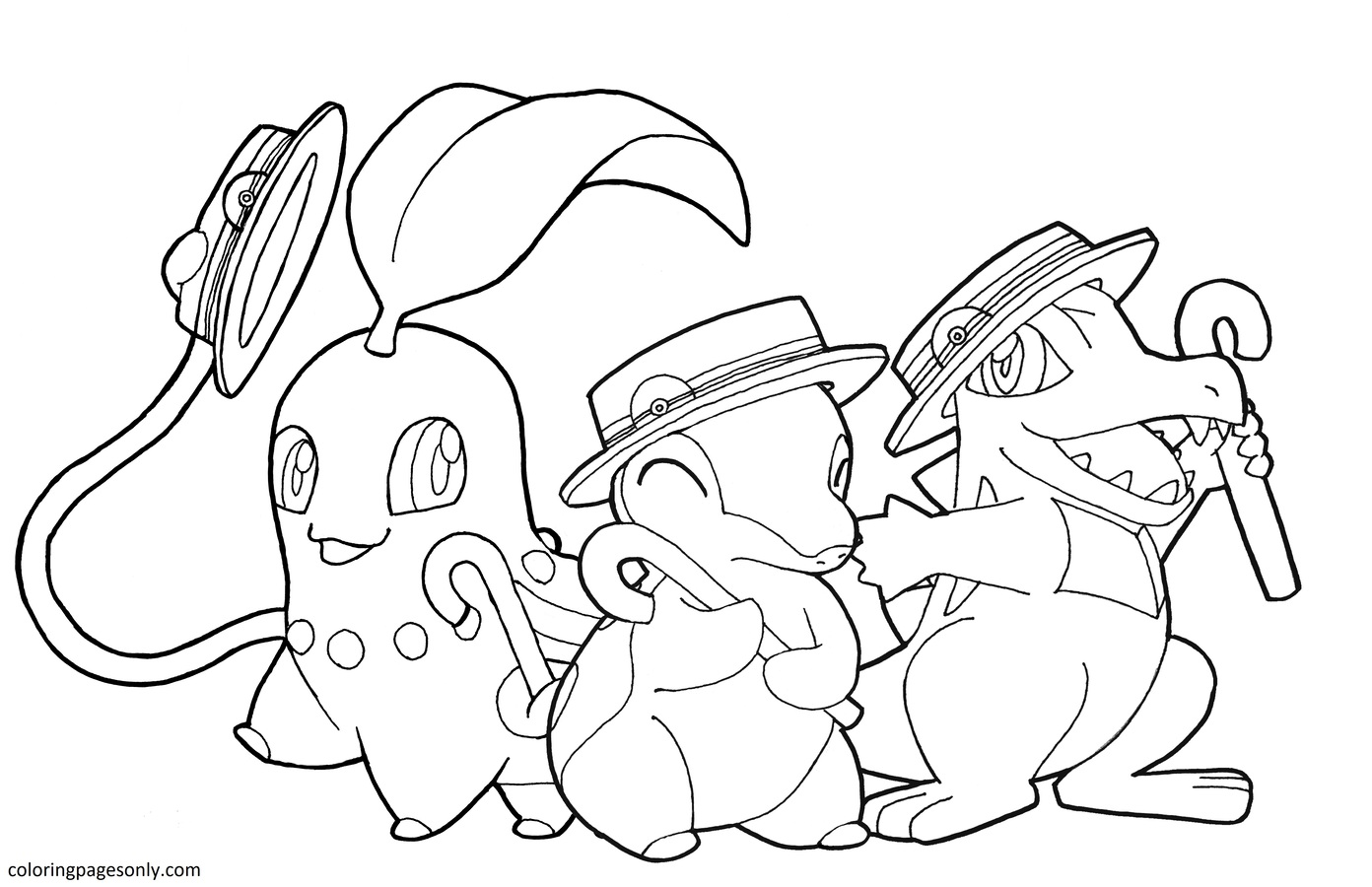 Totodile And Chikorita, Cyndaquil Coloring Page