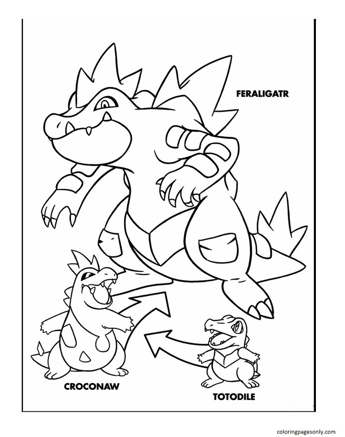 Totodile Evolution Coloring Page