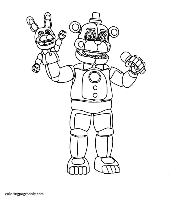 Toy Golden Freddy 1 Coloring Page