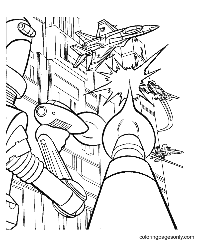 Transformers fight Coloring Page