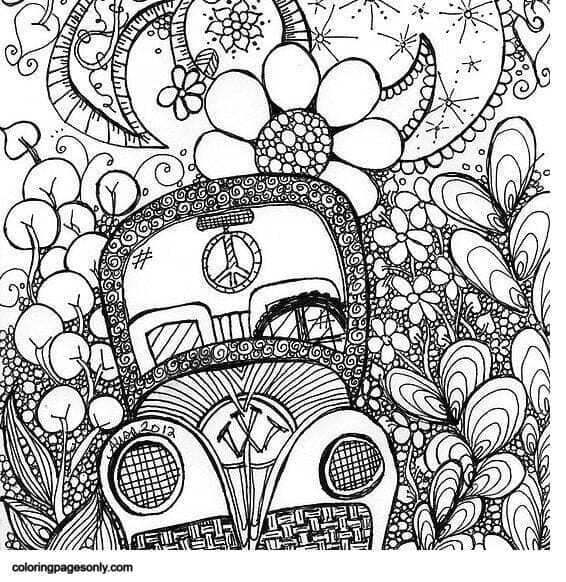 Trippy Car Coloring Page