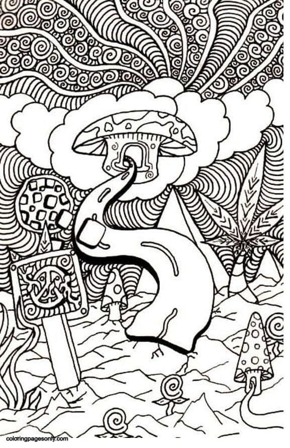 Trippy Mushrooms 1 Coloring Page