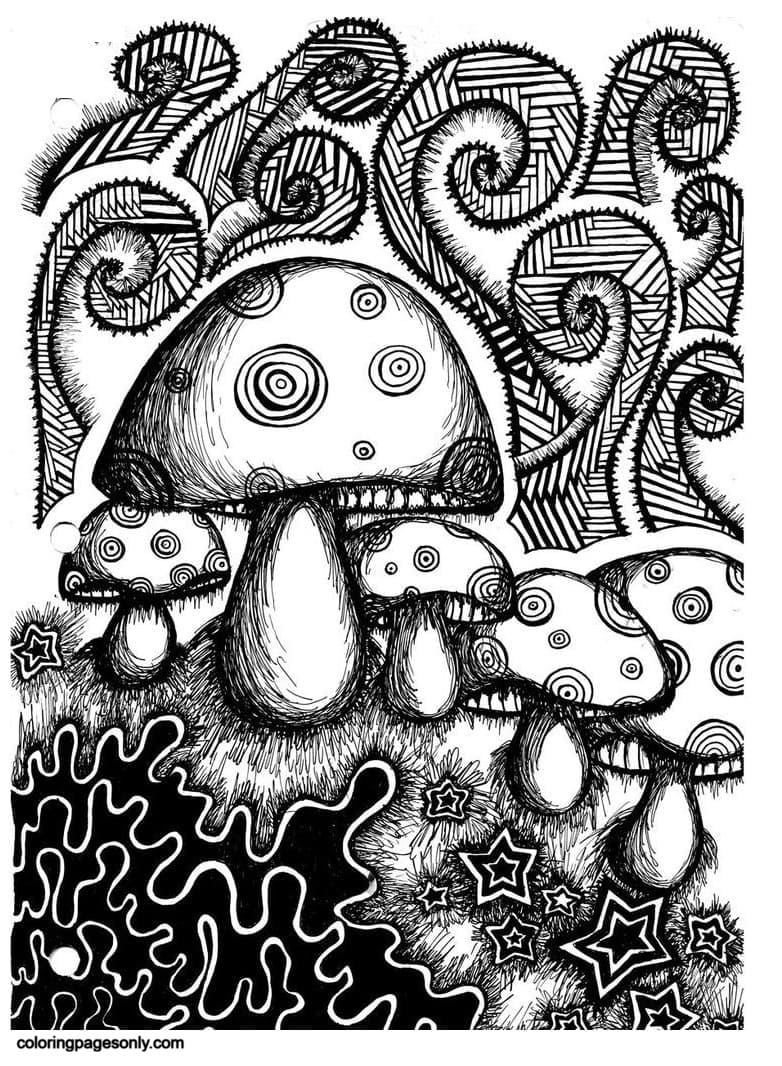 Trippy Mushrooms 3 Coloring Page