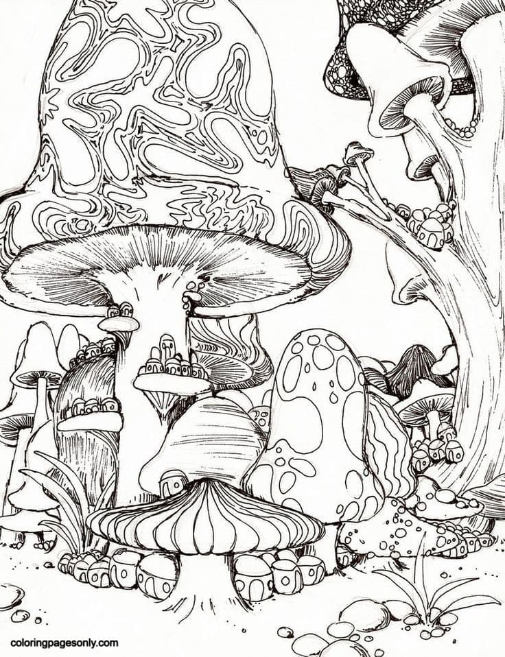 Trippy Mushrooms Pictures Coloring Page