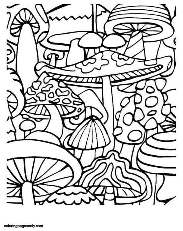 Trippy Mushrooms Coloring Page