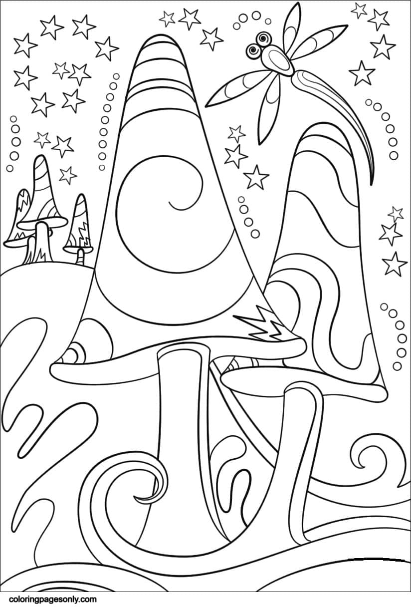 Trippy Mushrooms0 Coloring Page