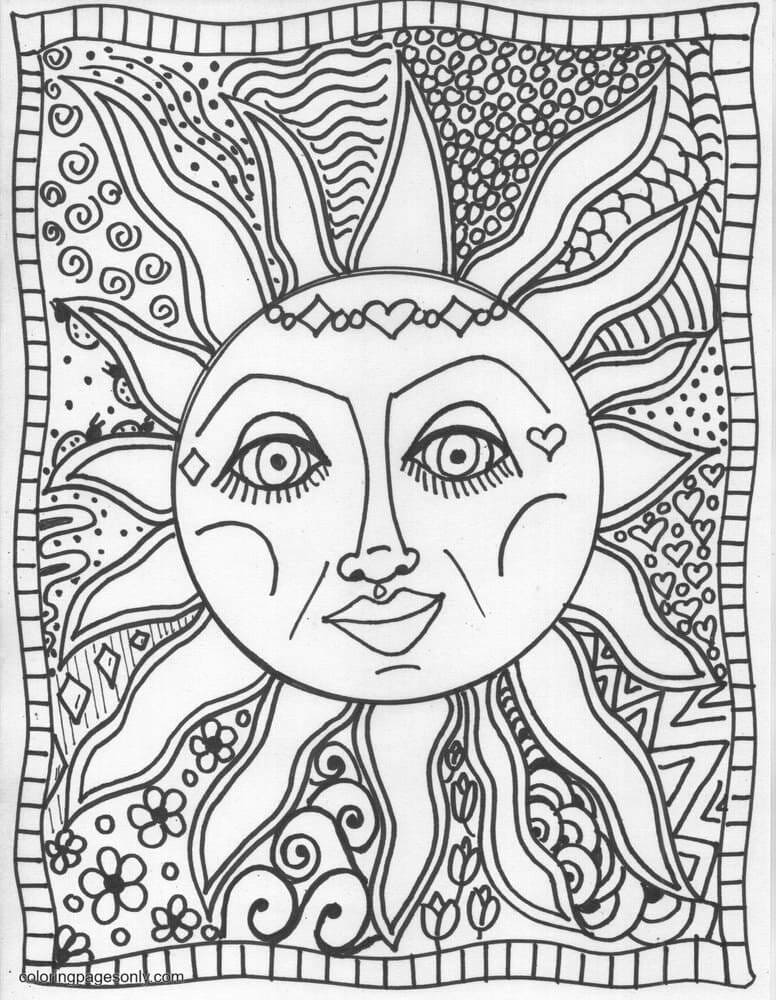Trippy Sun Coloring Page