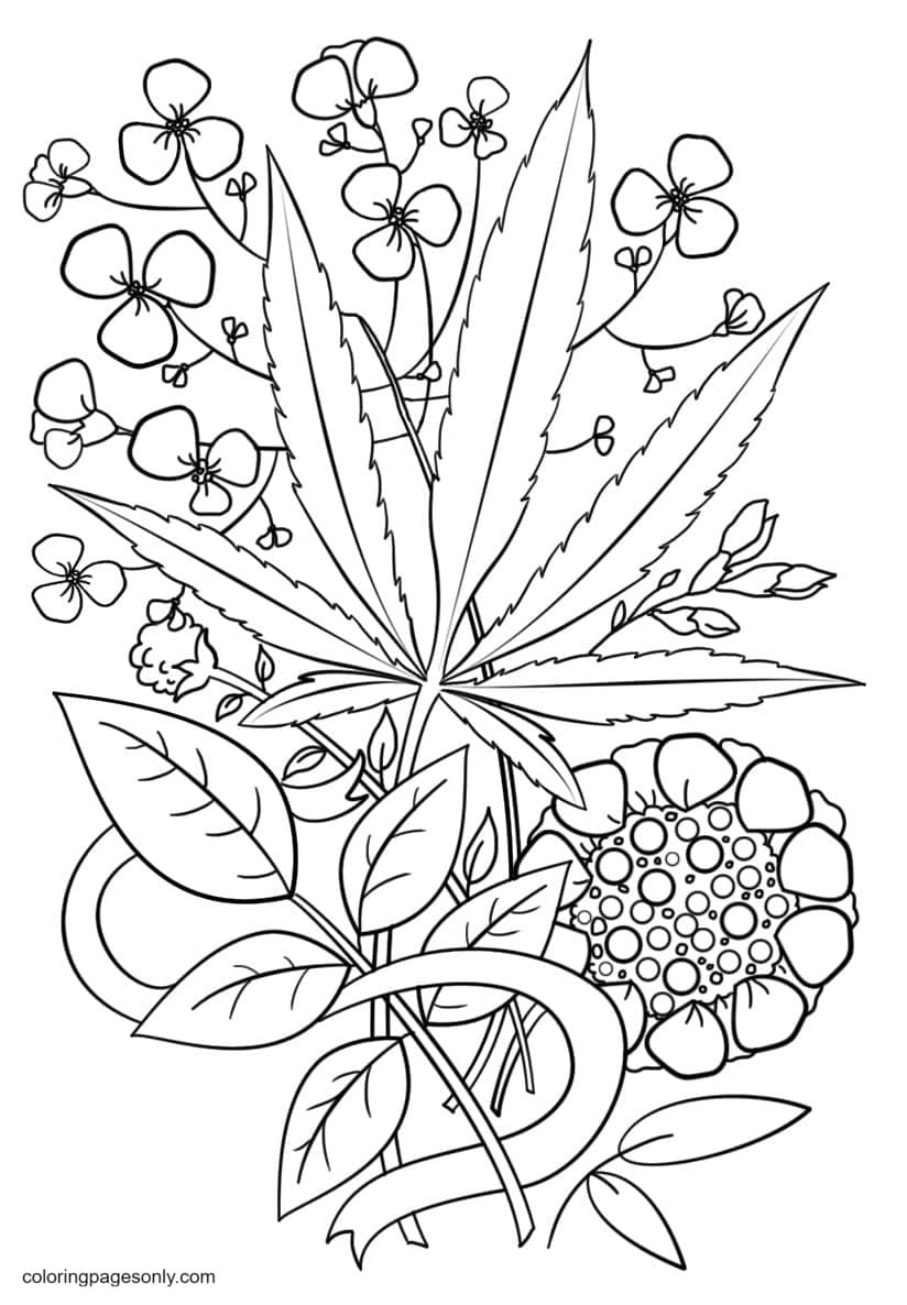 Trippy Weed Coloring Page