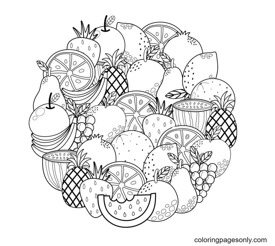 Tropical Fruit Coloring Page