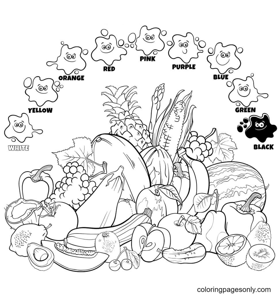 Tropical Fruits Free Coloring Page