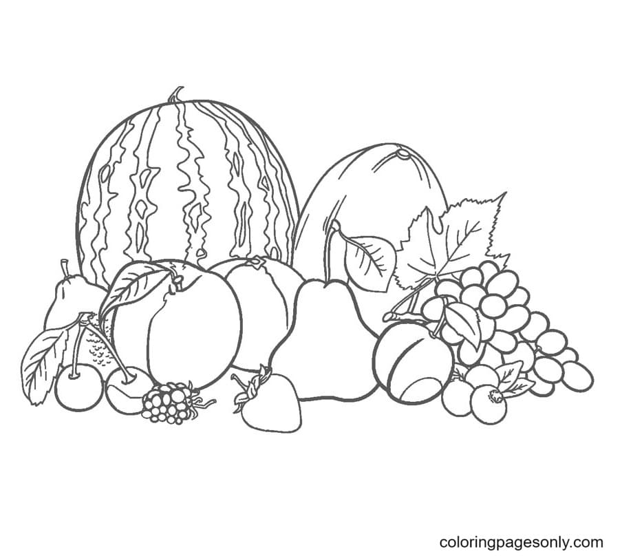 Tropical Fruits Mix Coloring Page
