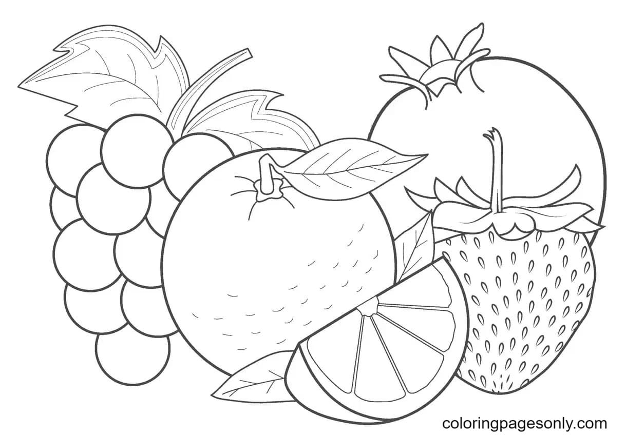 Tropical Fruits Pictures Coloring Page