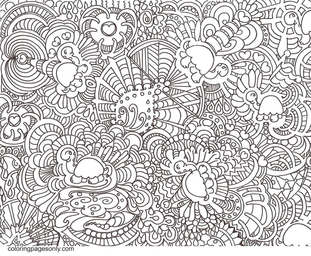 Turtle Sweet Symphony Doodle Coloring Page