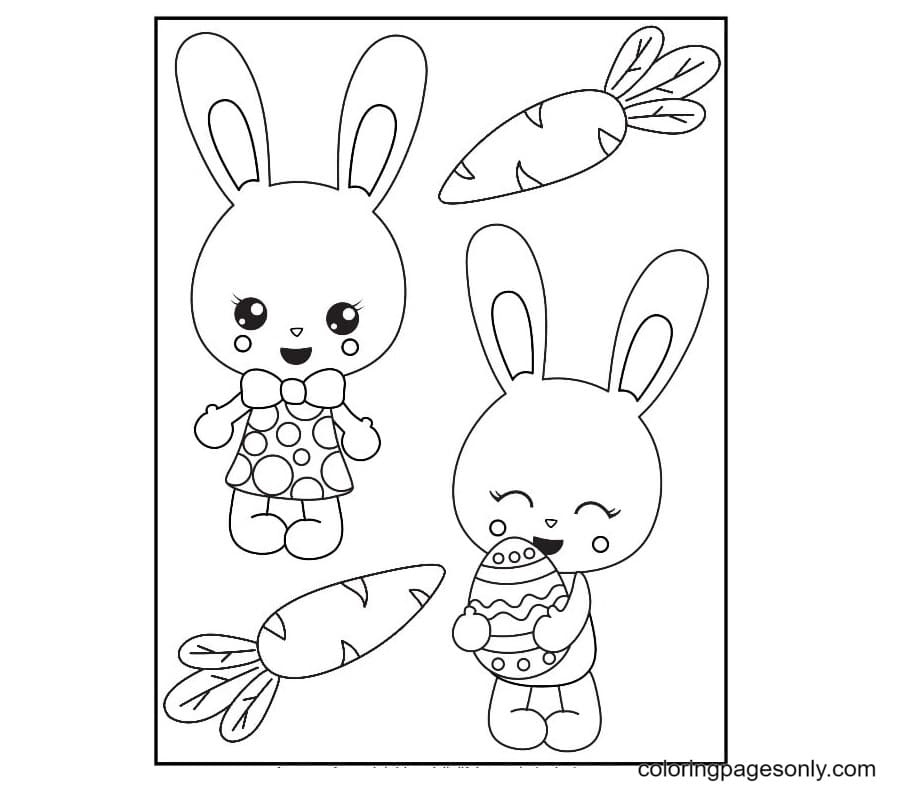 Two Bunnies, Carrot and Egg Coloring Page