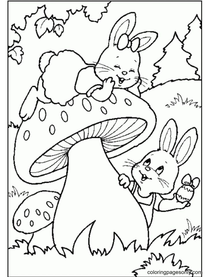 Two Bunnies Playing on a Mushroom Coloring Page