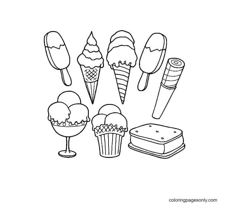 Types of Ice Cream Coloring Page
