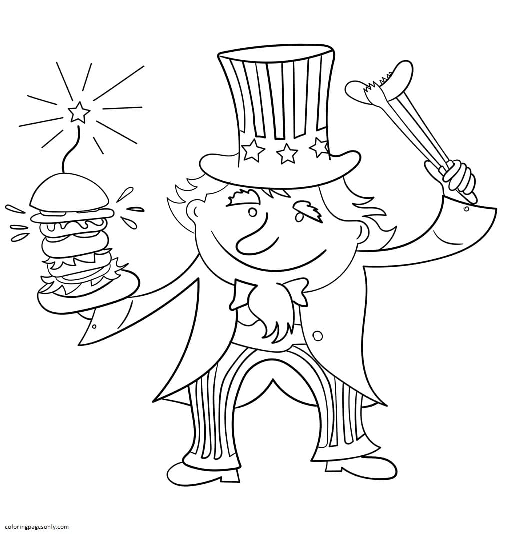 Uncle Sam on 4th July Coloring Page