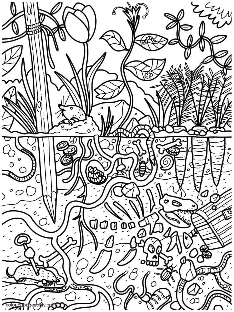 Underground Doodle Coloring Page