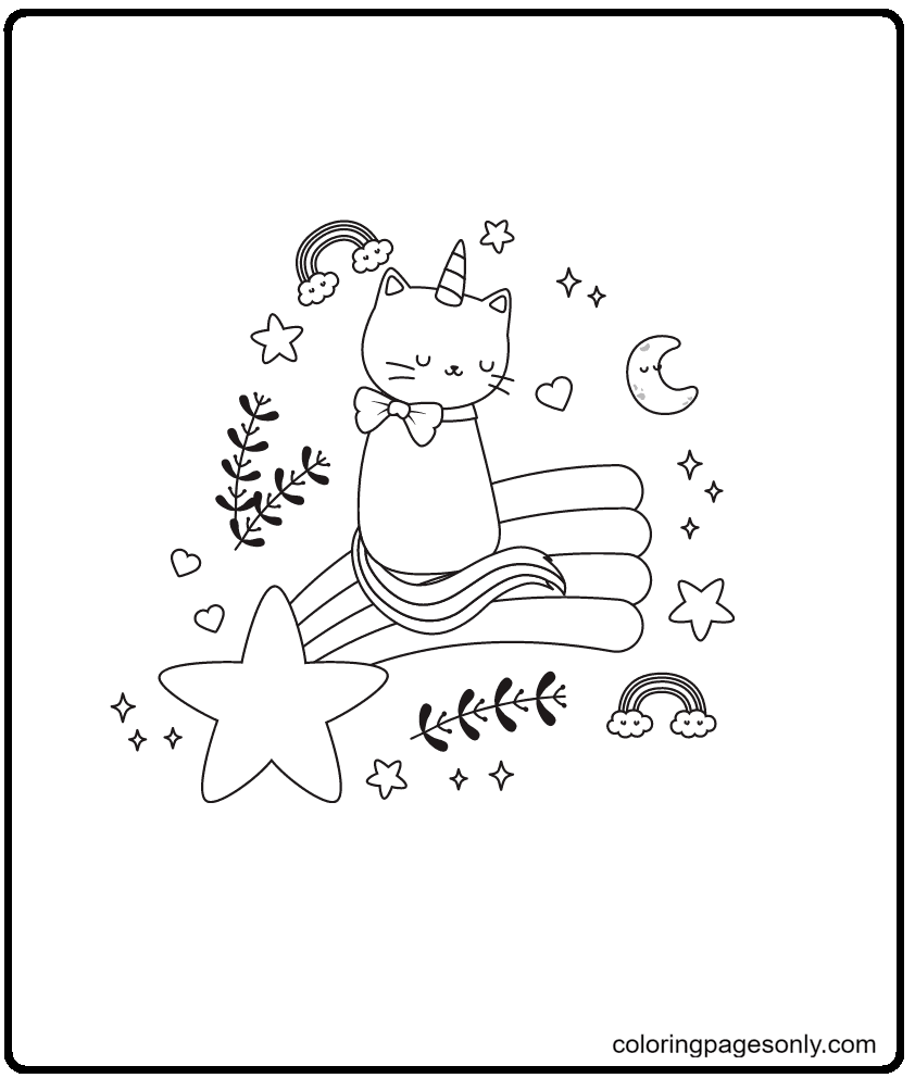 Unicorn Cat And Rainbow Coloring Page