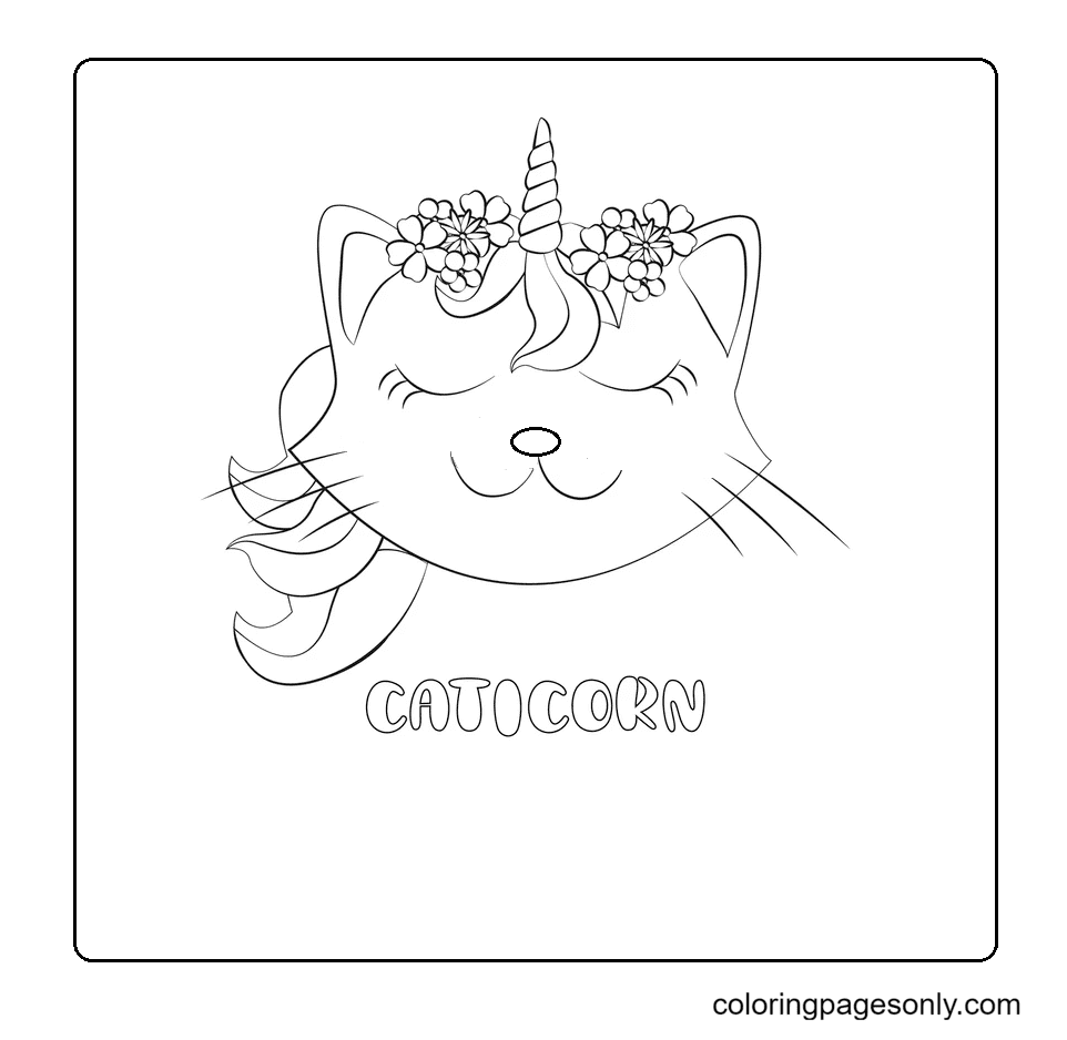Unicorn Cat Head With Mane And Horn Coloring Page