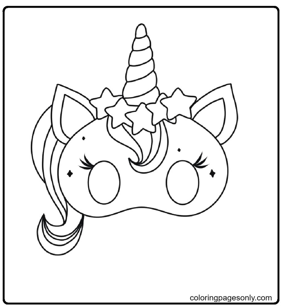 Unicorn Cat Mask Coloring Page