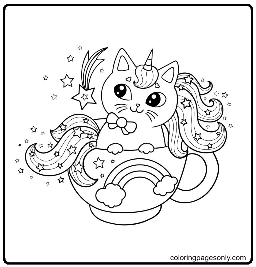 Unicorn Cat On A Cloud In A Round Frame Coloring Page