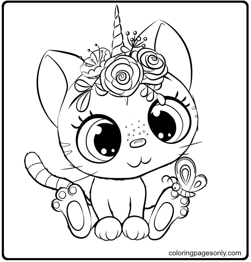 Unicorn Cat With Butterfly Coloring Page