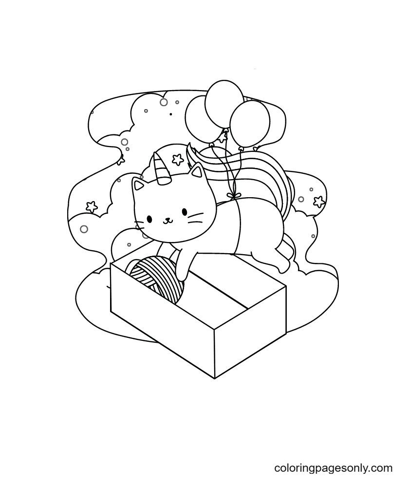 Unicorn Cat and Wool Roll Coloring Page