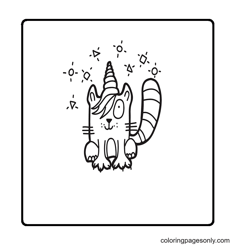 Unicorn Emo Hairstyle Cat Coloring Page