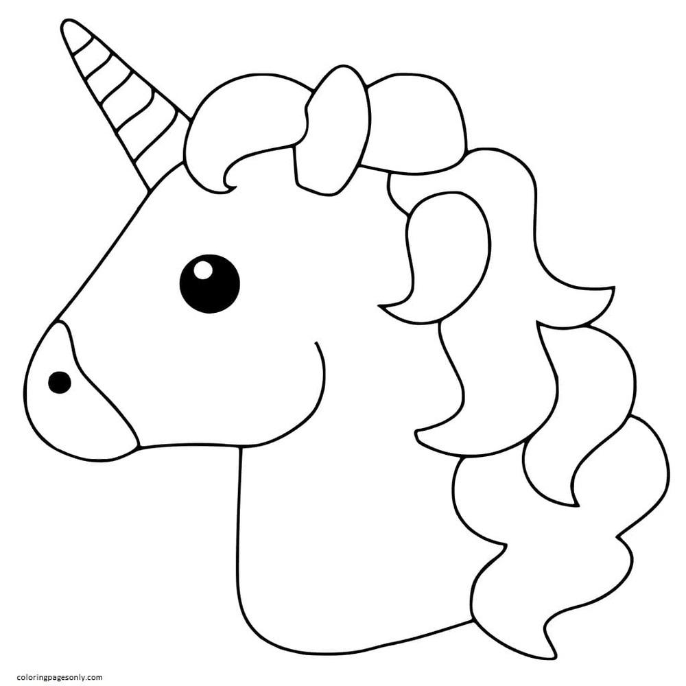 Unicorn Emoji Coloring Page