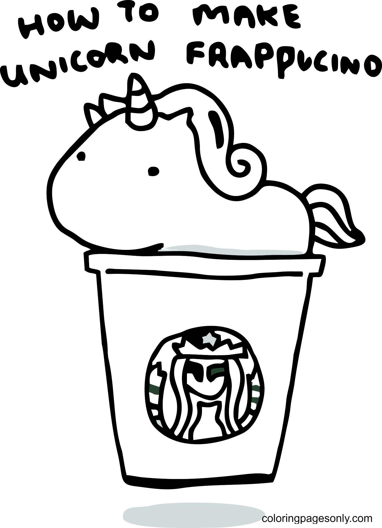 Unicorn Frappuccino Starbucks Coloring Page