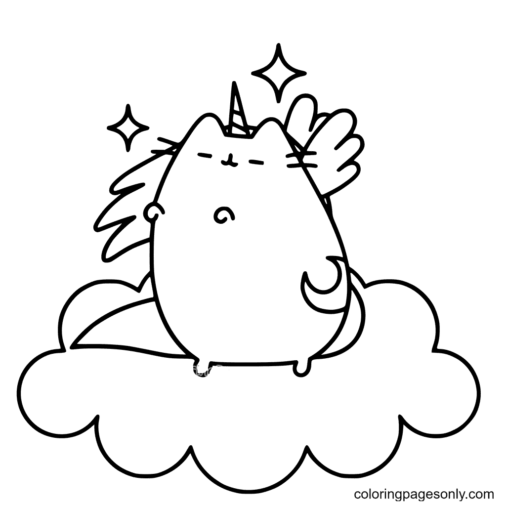 Unicorn Pusheen Coloring Page