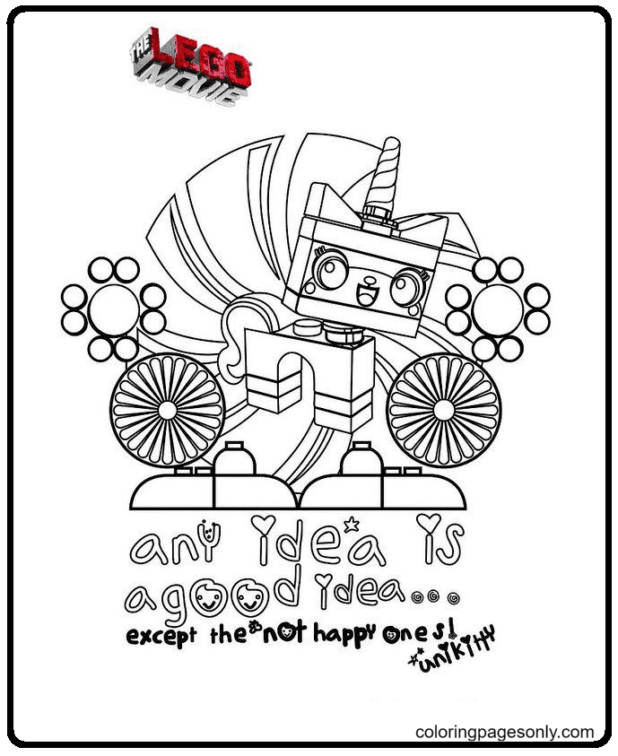 Unikitty any idea is a good idea Coloring Page