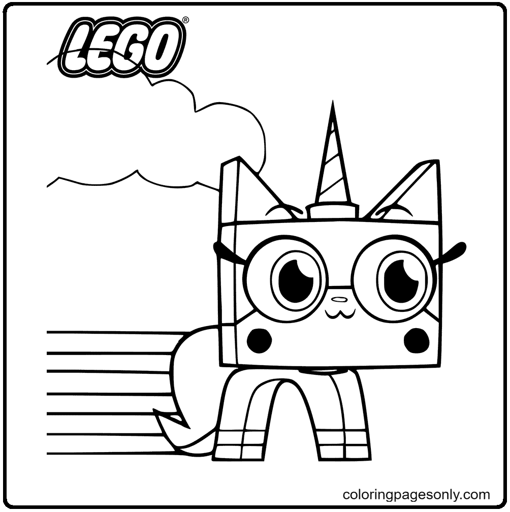 Unikitty with Rainbow Coloring Page