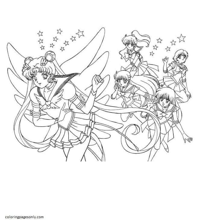 Usagi and girls Coloring Page