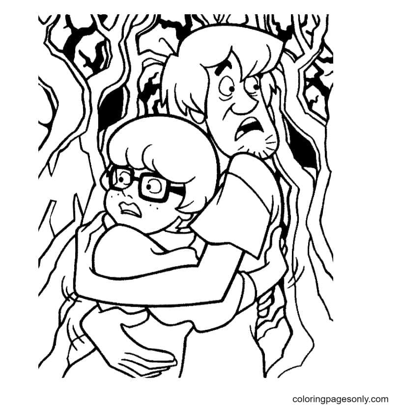 Velma and Shaggy Coloring Page