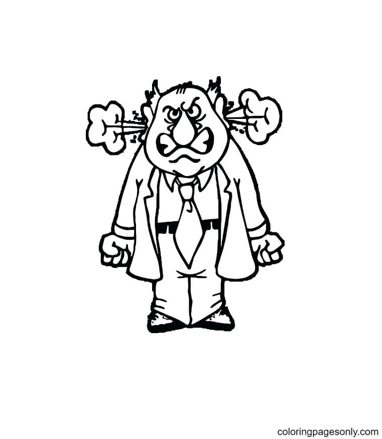 Very Angry Man Coloring Page
