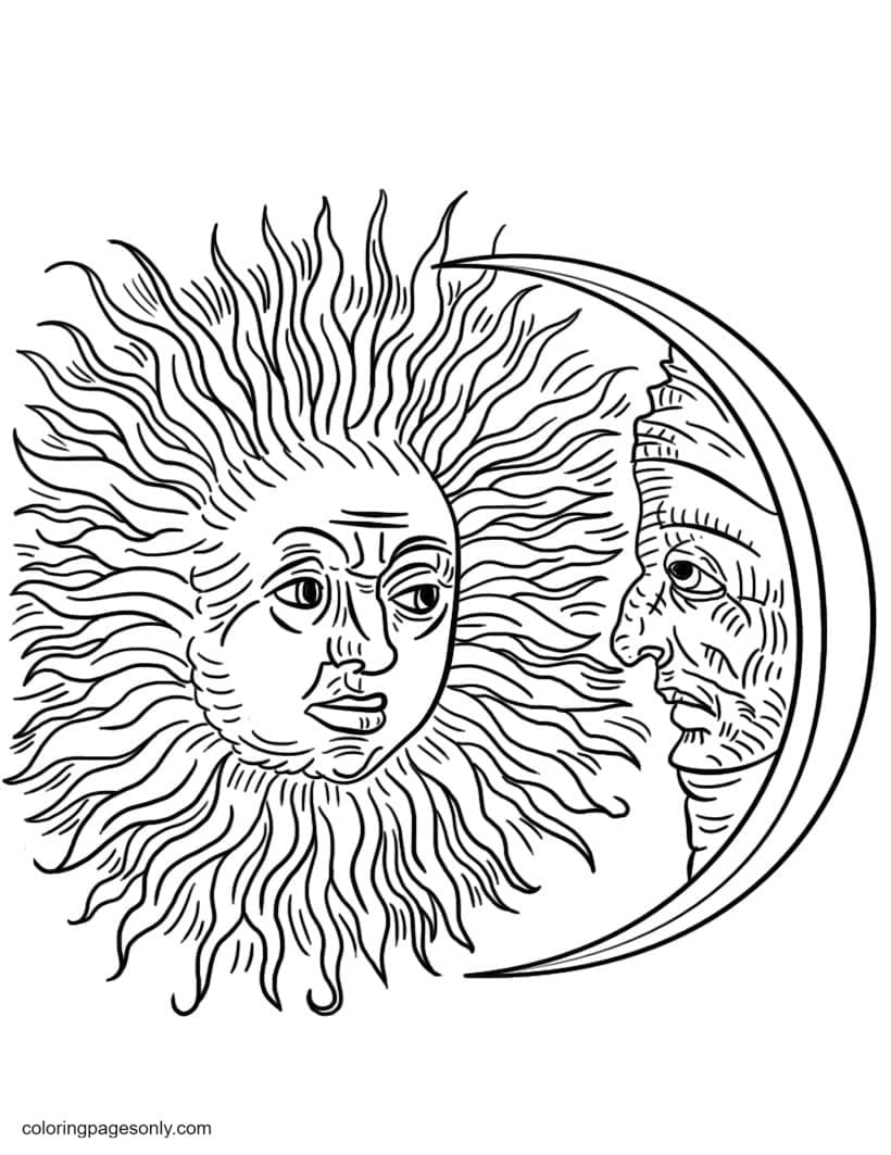 Vintage Sun and Moon Coloring Page