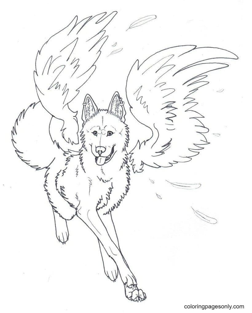 Winged Wolf Angel Coloring Page
