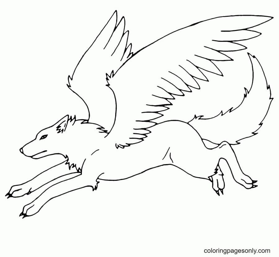 Winged Wolf Free Coloring Page