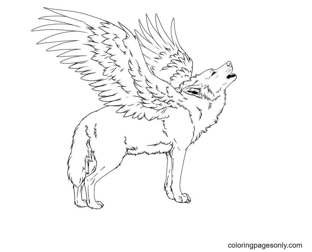 Winged Wolf Printable Coloring Page