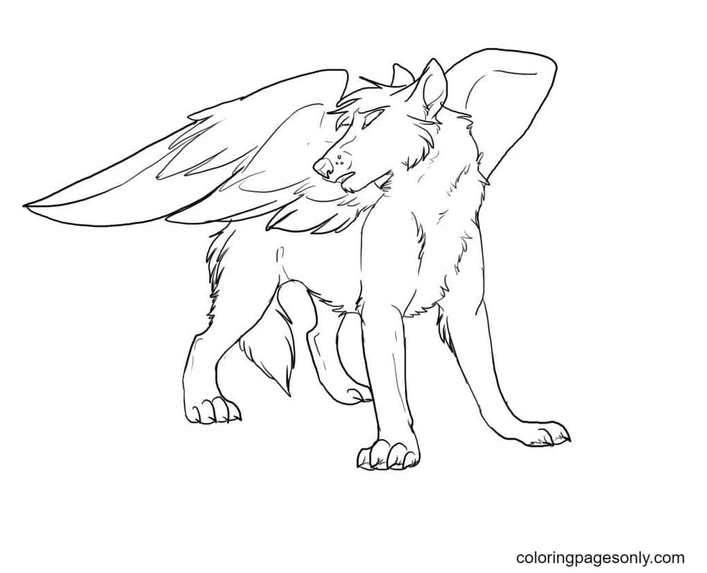 Winged Wolves Coloring Page